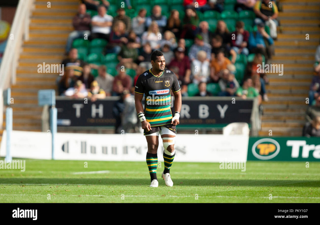 Northampton, UK. 15th September 2018. Taqele Naiyaravoro of Northampton Saints during the Gallagher Premiership round 3 match between Northampton Saints and Saracens at Franklin's Gardens. Andrew Taylor/Alamy Live News - Stock Image