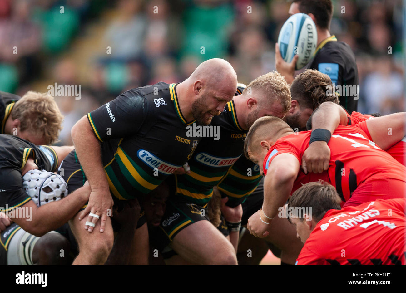 Northampton, UK. 15th September 2018. Ben Franks of Northampton Saints scrums down during the Gallagher Premiership round 3 match between Northampton Saints and Saracens at Franklin's Gardens. Andrew Taylor/Alamy Live News - Stock Image