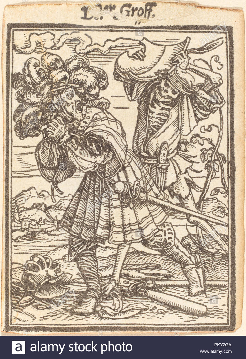 Count. Medium: woodcut. Museum: National Gallery of Art, Washington DC. Author: Hans Holbein the Younger. - Stock Image