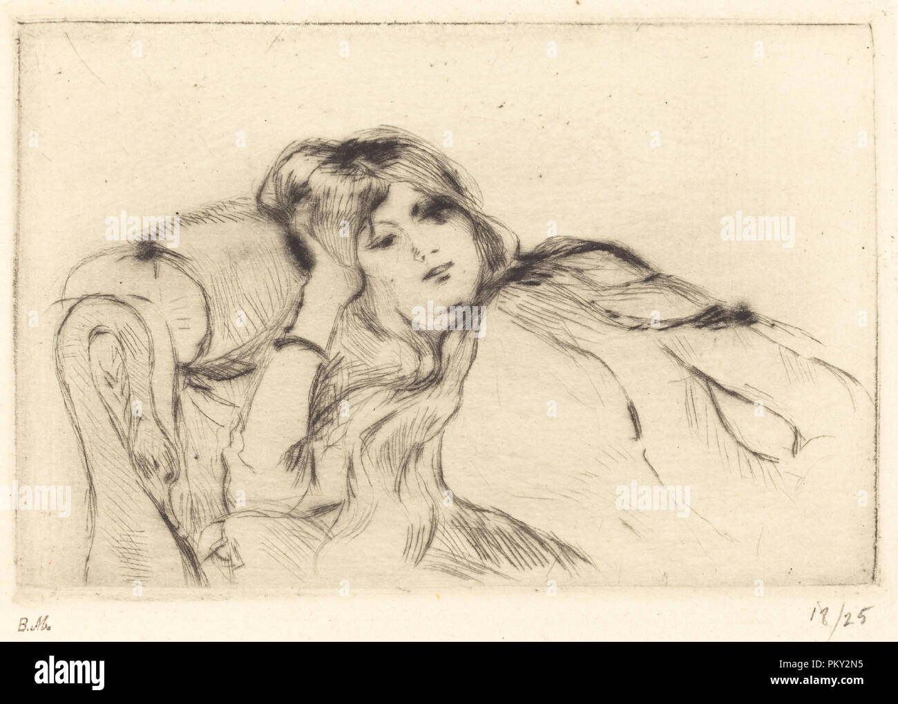 Rest. Dated: 1888/1890. Medium: drypoint [reprinted by Ambroise Vollard]. Museum: National Gallery of Art, Washington DC. Author: Berthe Morisot. - Stock Image