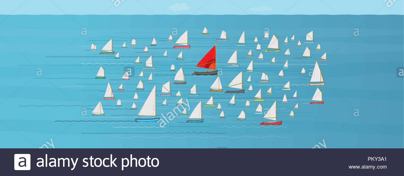 Go with the Flow, Boat with Red Sail in the Middle of a crowded Fleet of Small Sailboats, Going along with the Crowd, Safety in Numbers, Nautical - Stock Image