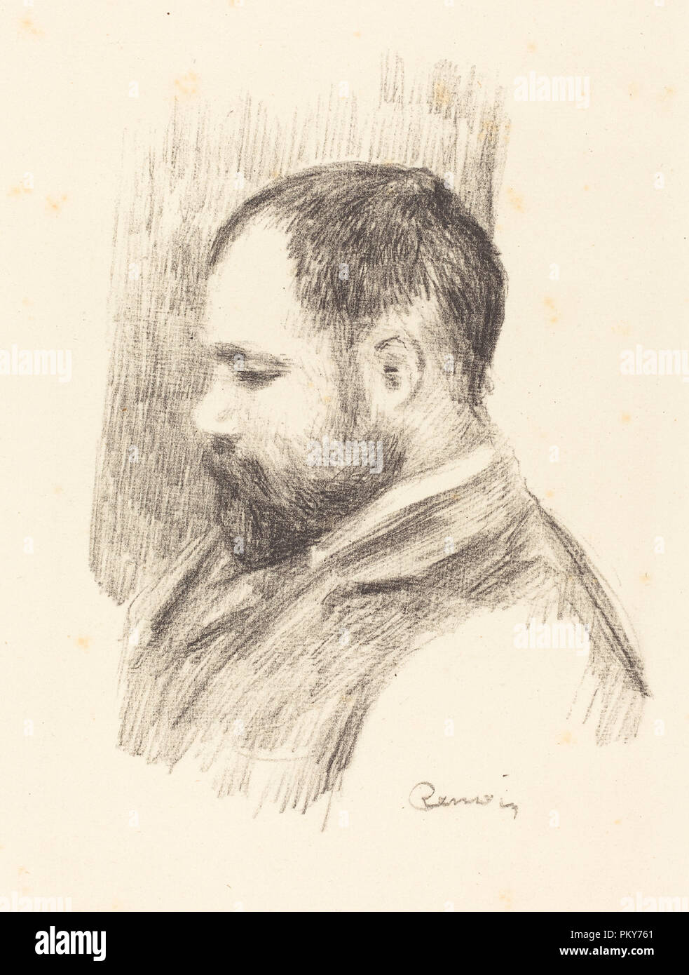 Ambroise Vollard. Dated: 1904. Medium: lithograph. Museum: National Gallery of Art, Washington DC. Author: AUGUSTE RENOIR. - Stock Image