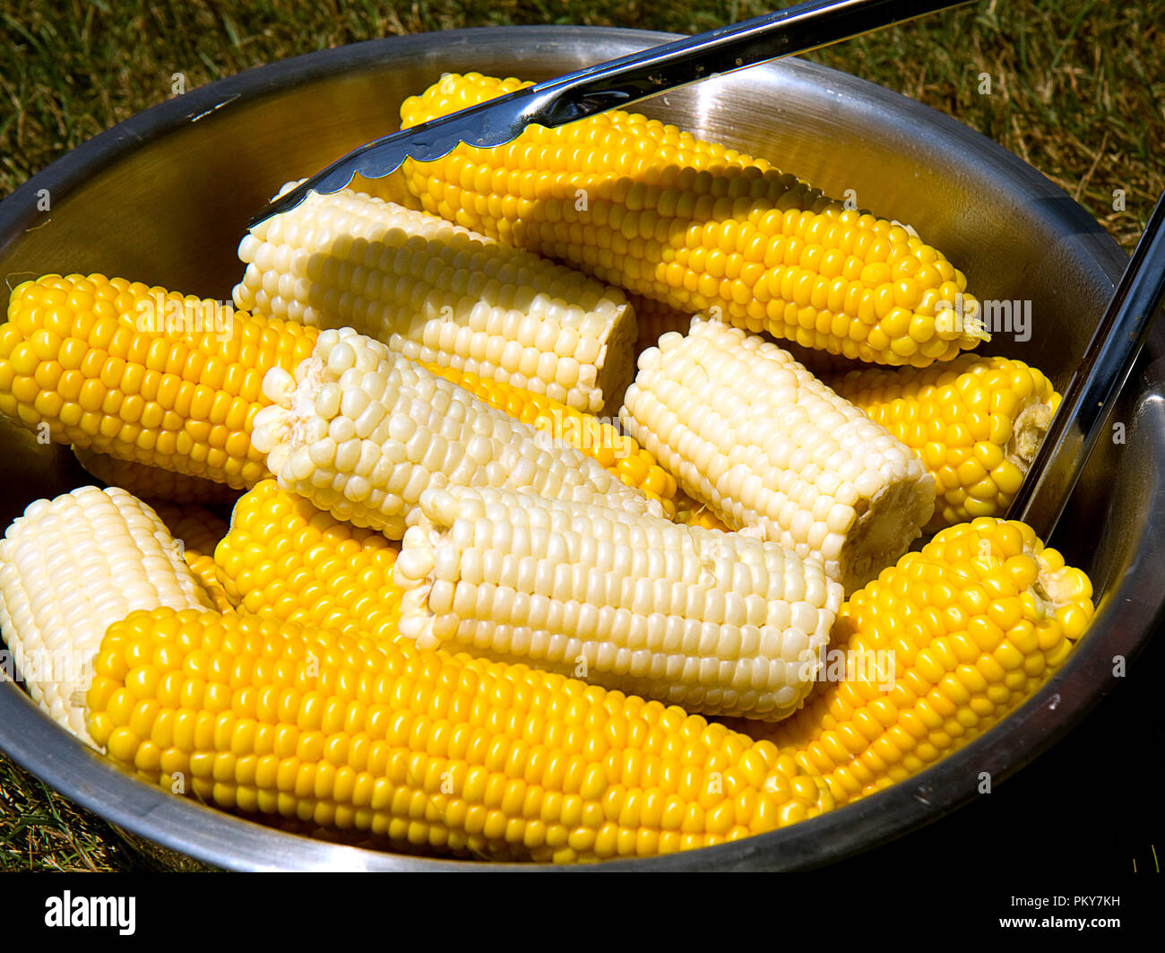 serving in large metal bowl corn on the cob with prongs stock photo