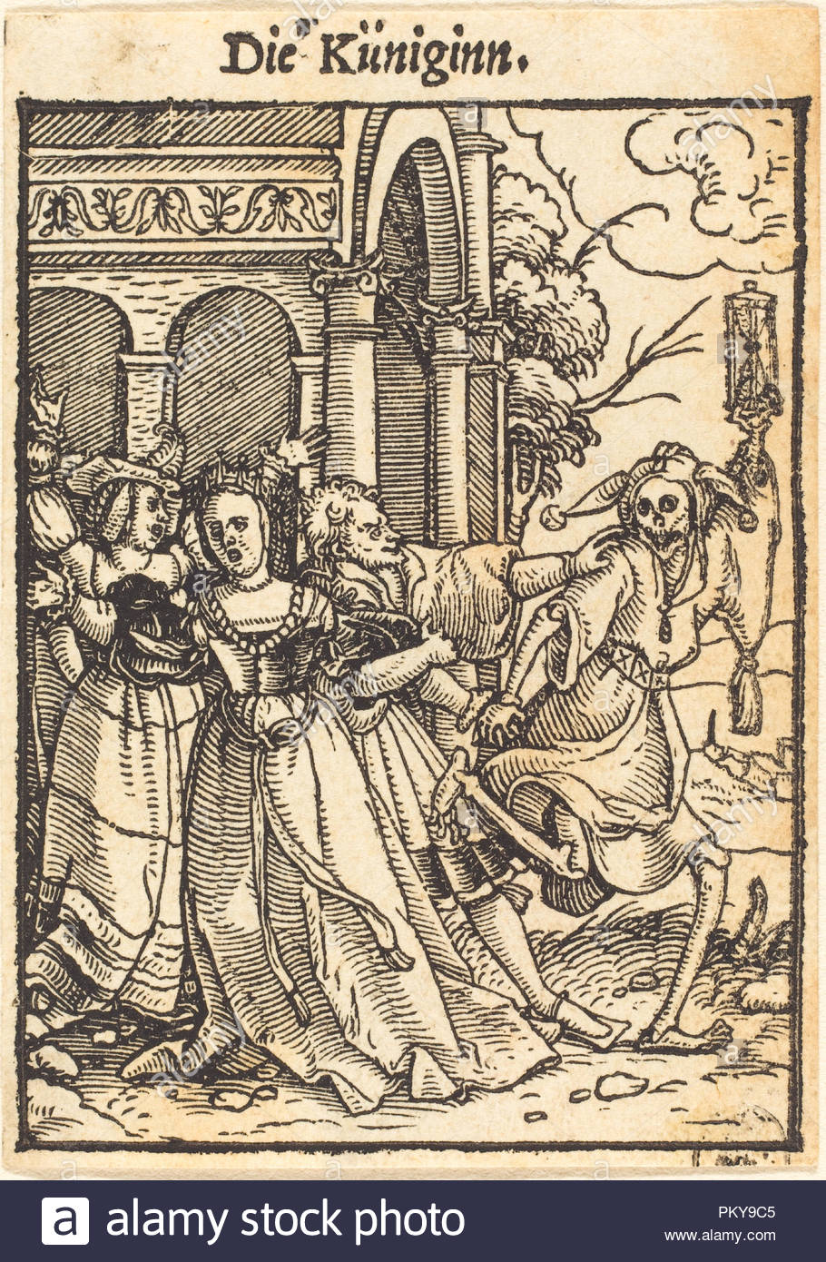 Queen. Medium: woodcut. Museum: National Gallery of Art, Washington DC. Author: Hans Holbein the Younger. - Stock Image