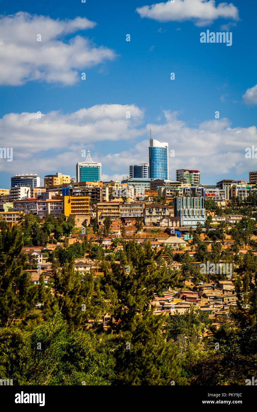 The downtown Kigali skyline on a sunny summer day with blue skies. - Stock Image