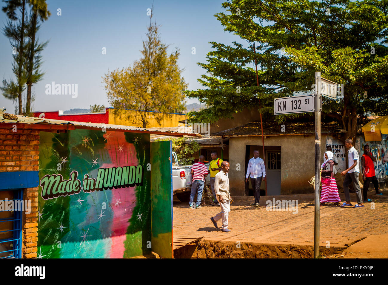 'Made in Rwanda' sign on a sunny summer day in Kigali, Rwanda at the intersection of KN 132 and KN 111. - Stock Image