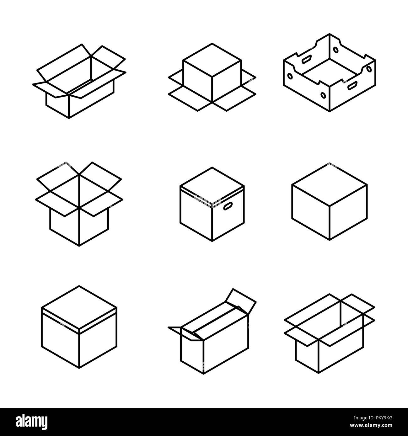 91de6f5ee36 Set of different cardboard boxes from thin lines isolated on white  background. Packaging design elements. Flat 3D isometric style