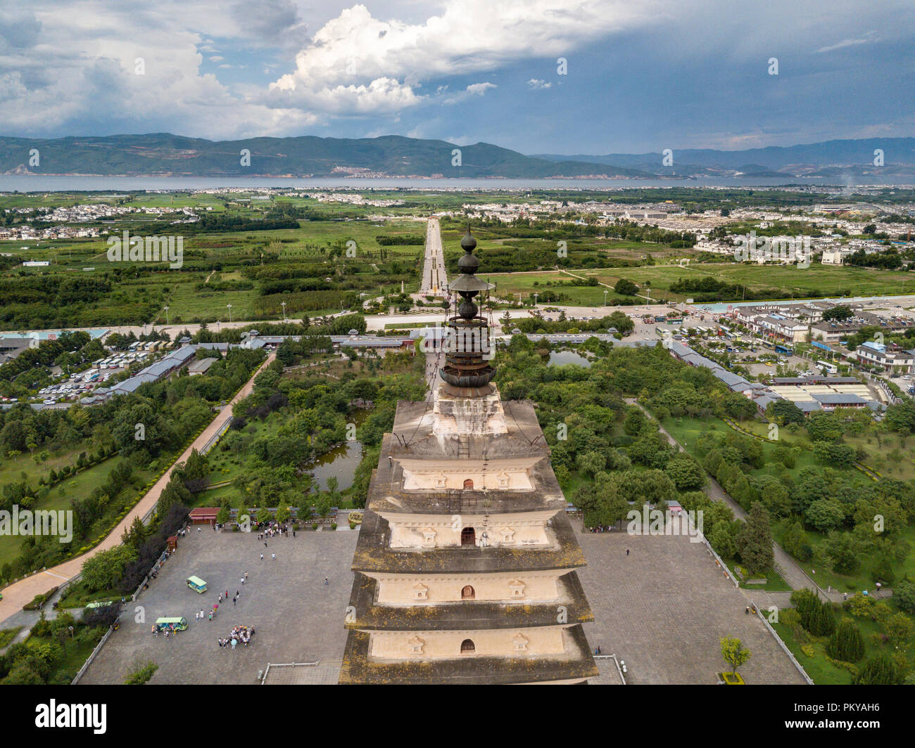 The Three Pagodas of Chongsheng Temple is a symbol of Dali's 'Literary State of Literature'. One of the ancient and majestic buildings in south China. - Stock Image