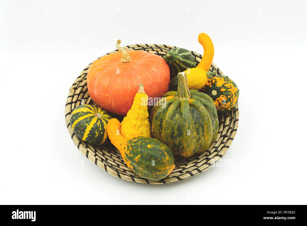 Various Types Of Decorative Pumpkins In A Decorative Bast Basket