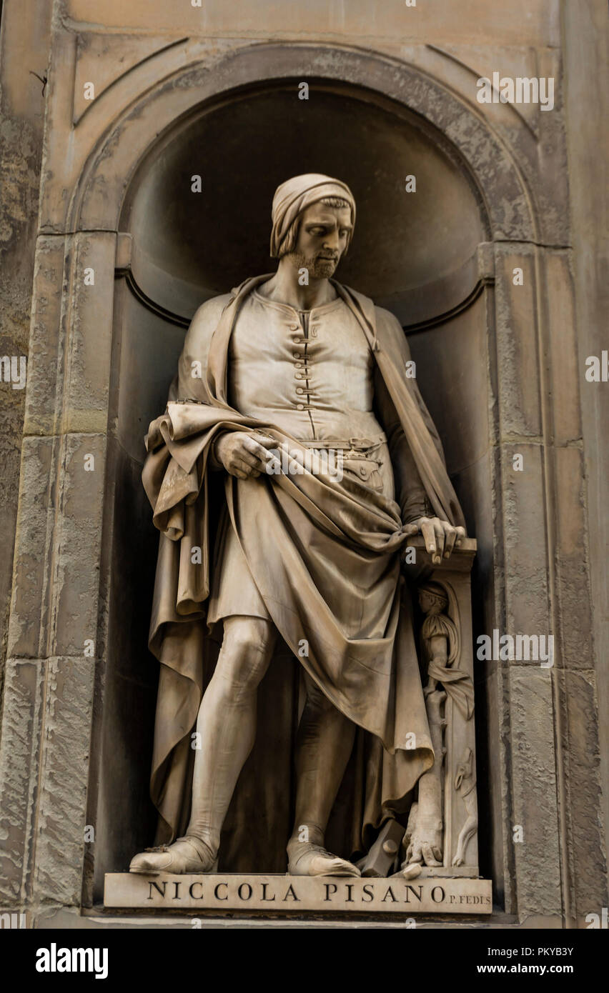 View at Niccola Pisano monument in Florence, Italy Stock Photo