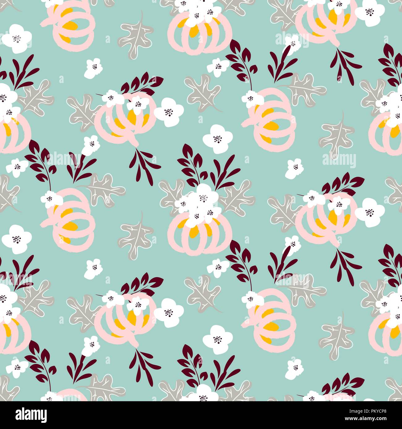Autumn beautiful chic seamless vector pattern with pumpkins and flowers on blue background. - Stock Vector