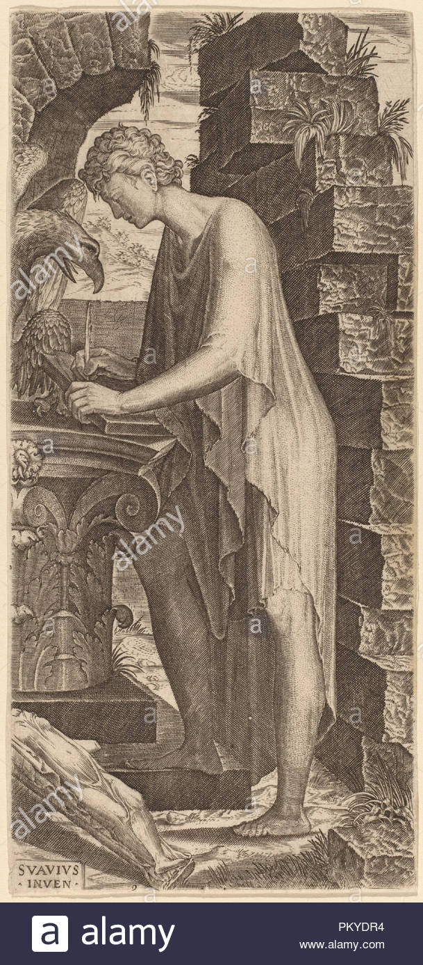 Saint John the Evangelist. Dated: c. 1545. Medium: engraving on laid paper.  Museum: National Gallery of Art, Washington DC. Author: Lambert Suavius.
