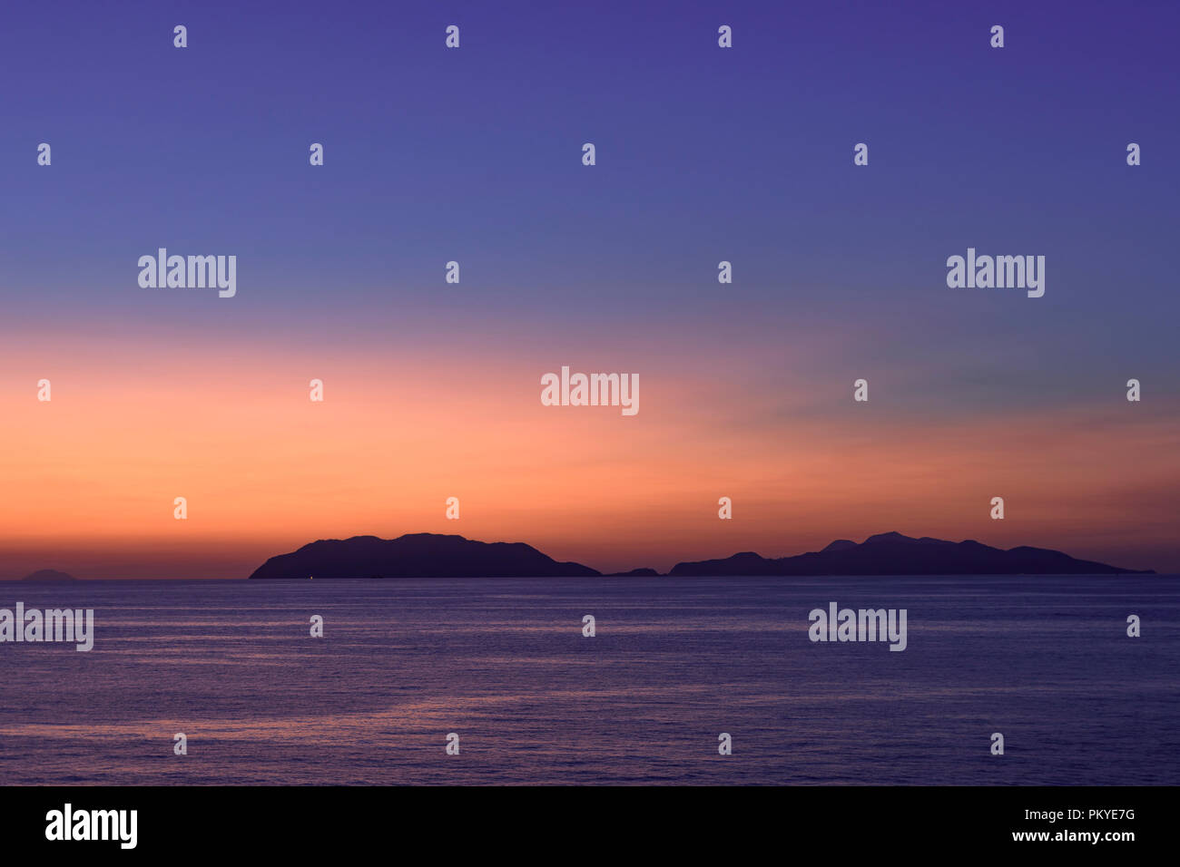Sunset in Sicily towards Eolie's Islands - Stock Image