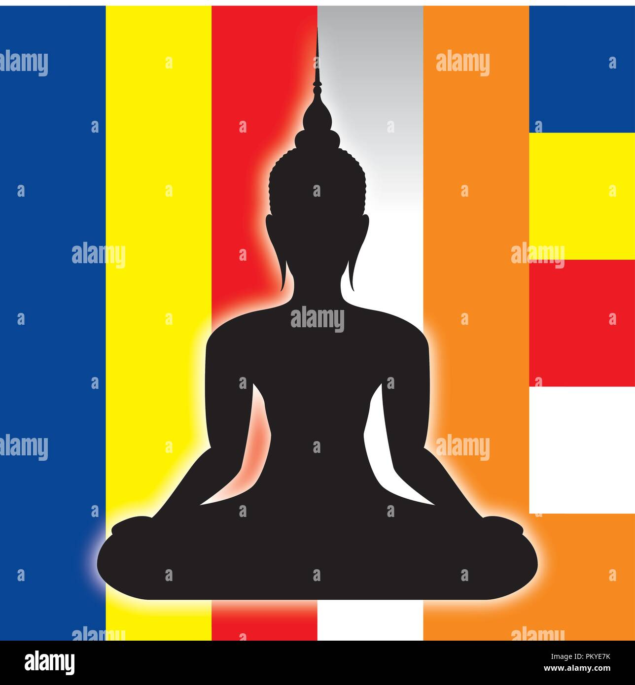 Buddah symbol silhouette and buddist flag, vector illustration - Stock Vector