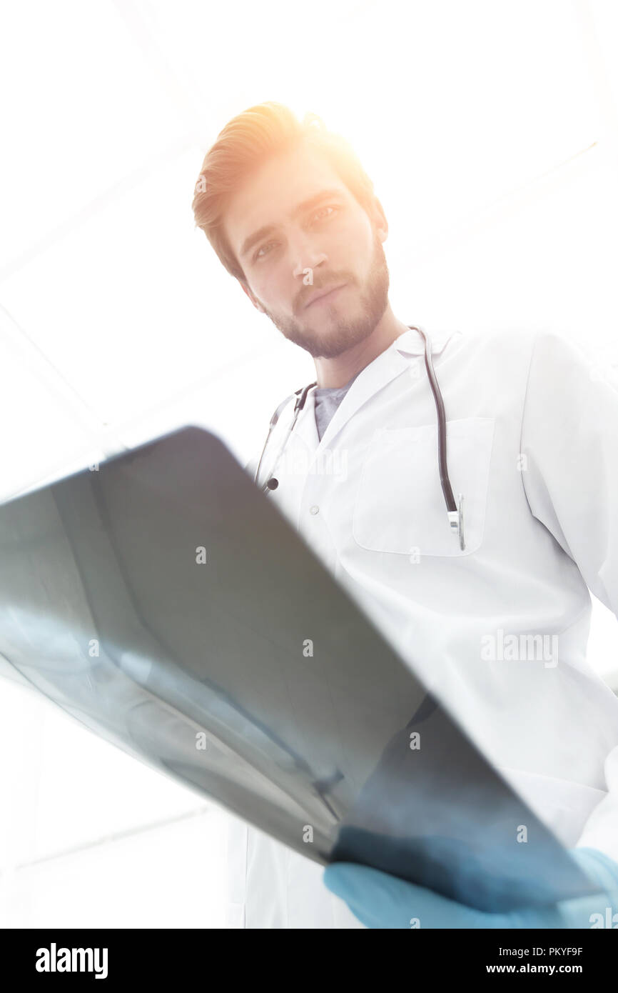 closeup.the doctor radiologist with x-ray - Stock Image