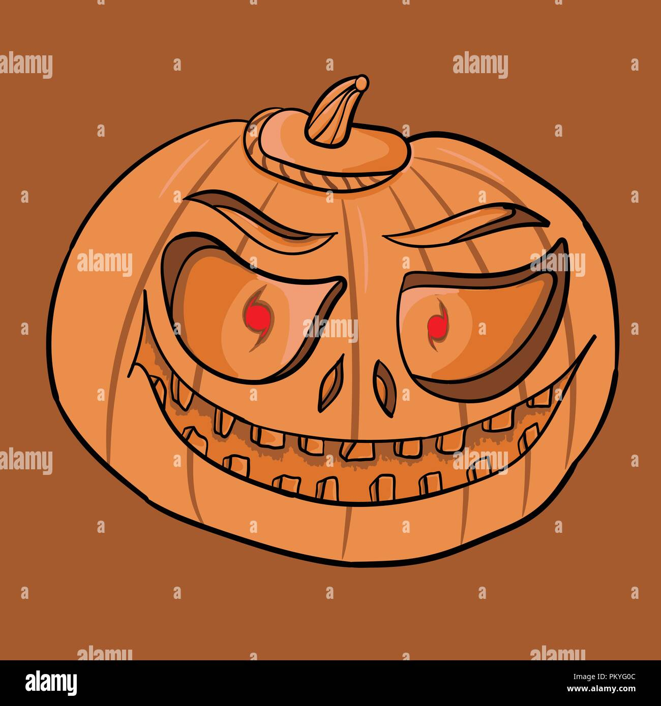 Pumpkin For Halloween Jack O Lantern Hand Drawing Element For Design On Holiday Stock Vector Image Art Alamy