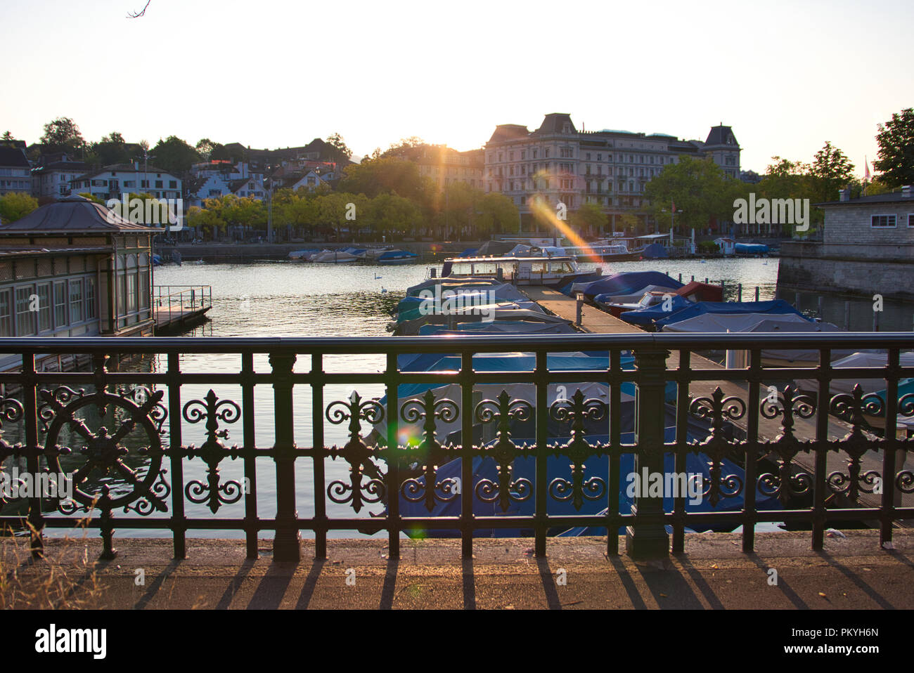 River in Zurich in the morning sun - Stock Image