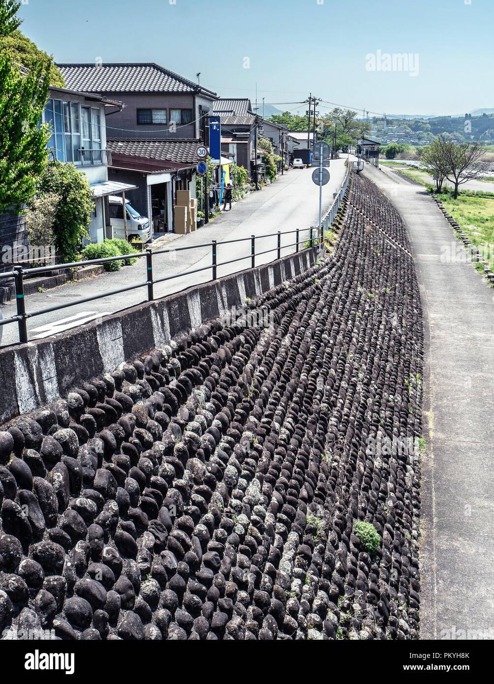Sunny day in a ordinary small beautiful village in Hita, Oita, Japan - Stock Image