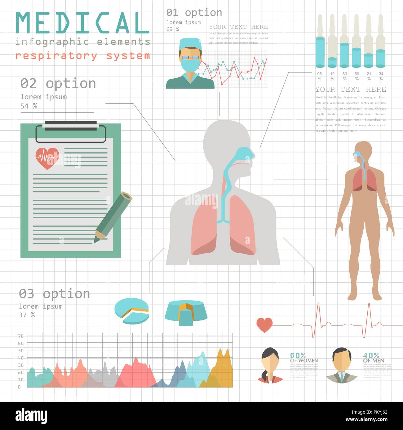Medical and healthcare infographic, respiratory system infographics. Vector illustration - Stock Image