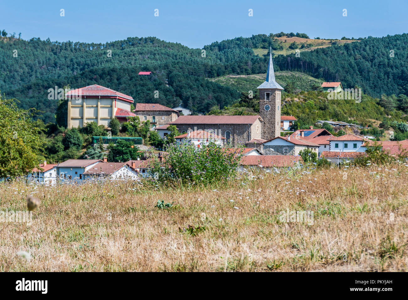 landscape in the Navarrese Pyrenees you can see the village Erro in which the tower of the parish of San Esteban stands out. Navarre Spain - Stock Image