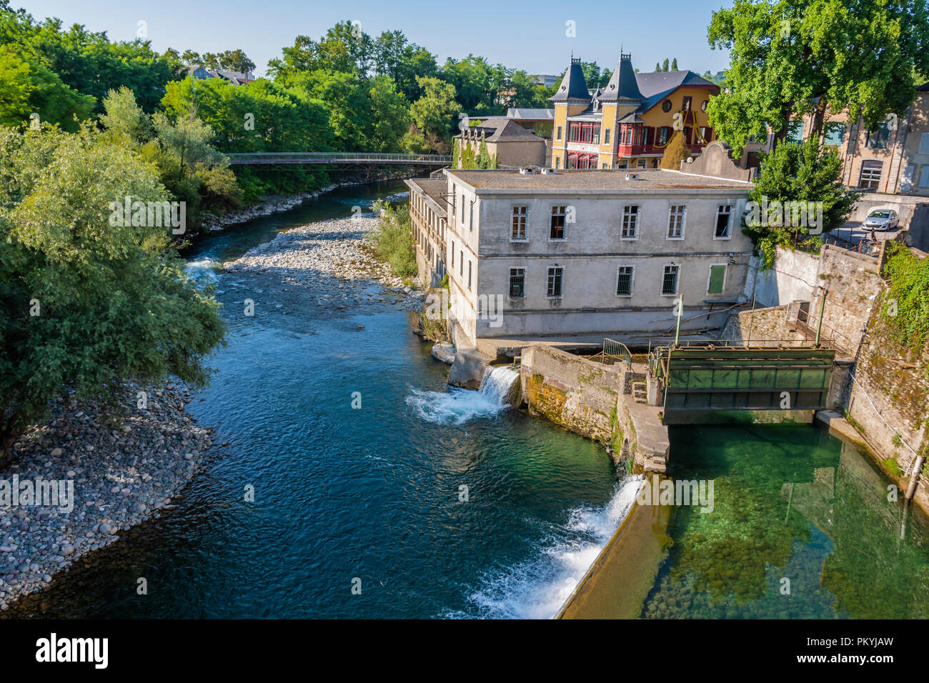 view of the dams on the river oloron from the Saint Claire bridge. Saint Marie Oloron france - Stock Image