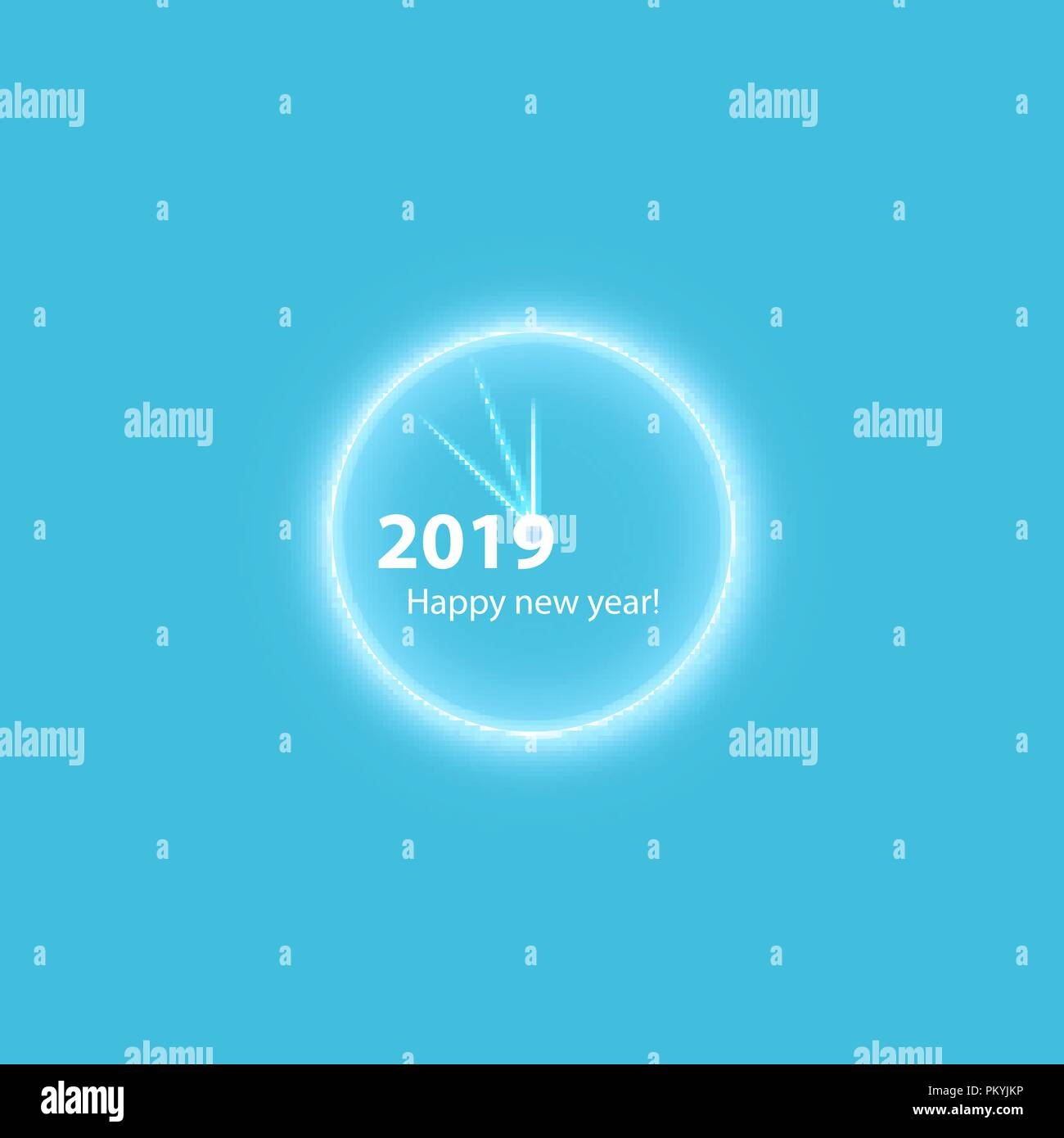 christmas party poster with a glowing gold magical clock happy 2019 new year flyer greeting card invitation menu design template vector illustration