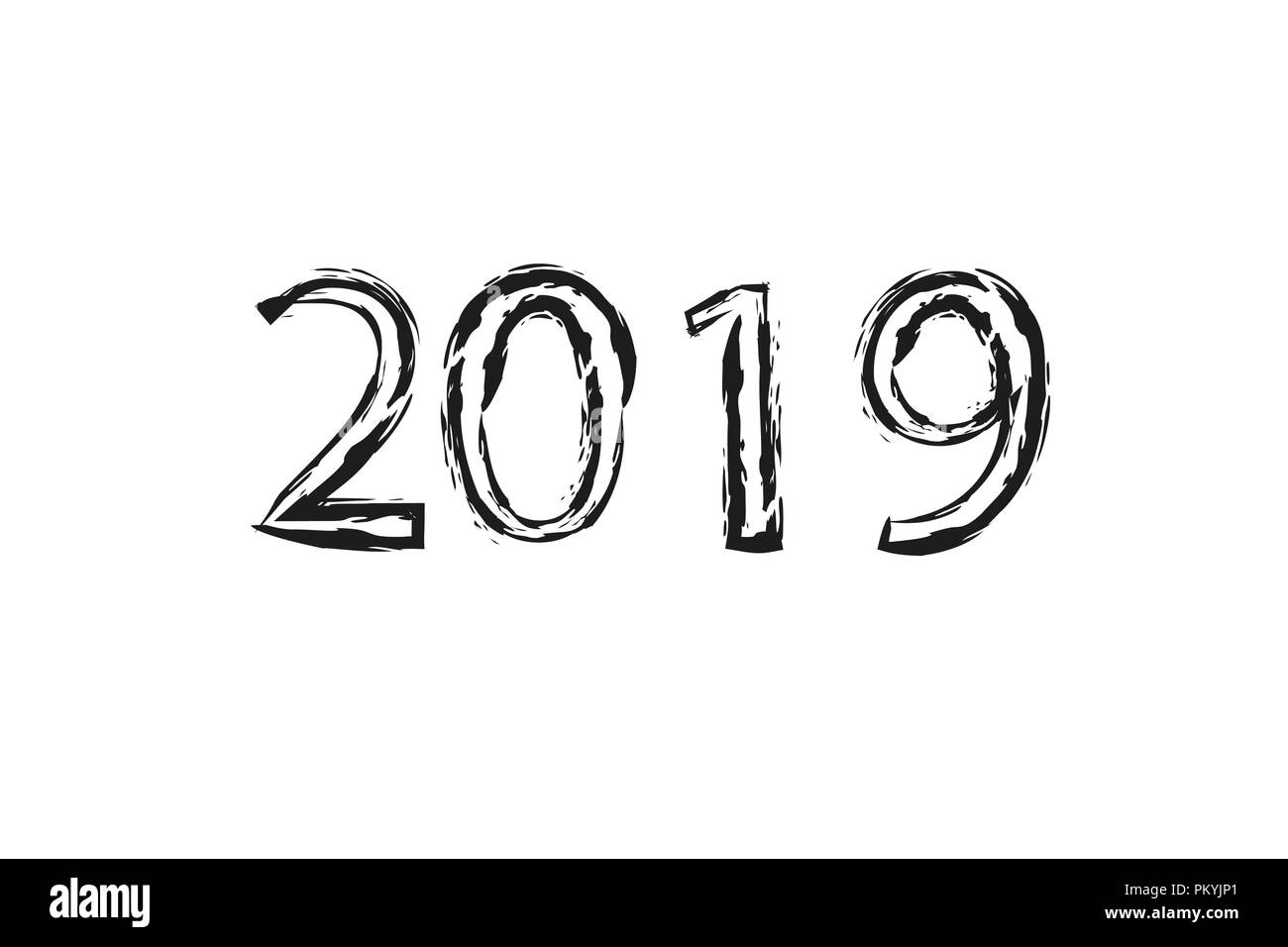 Dry brush texture effect. 2019 numeral hand lettering. Happy New Year. Merry Christmas. Graduation. Vector Illustration - Stock Image