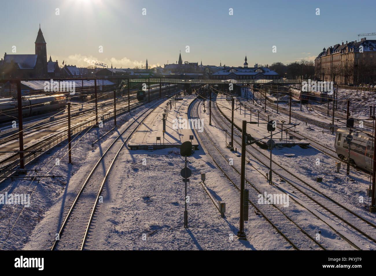 Rail tracks of Oesterport Station, Copenhagen, in winter; Denmark - Stock Image