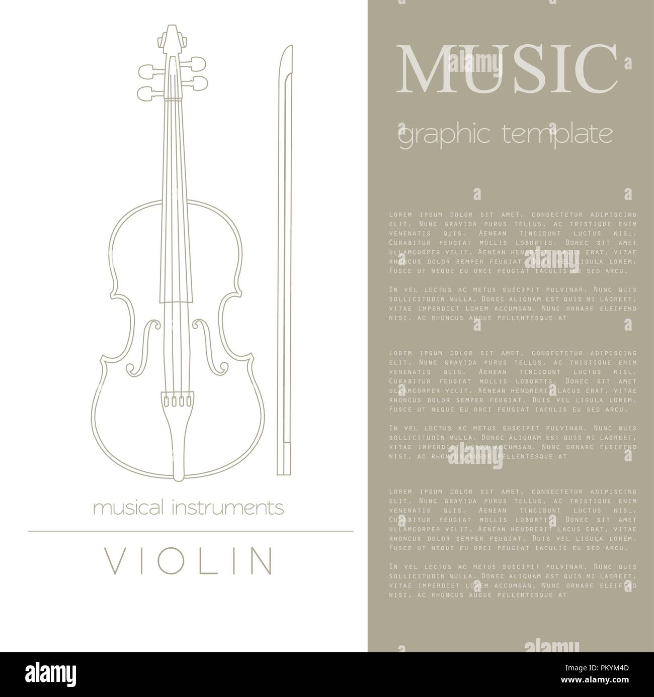musical instruments graphic template violin vector illustration