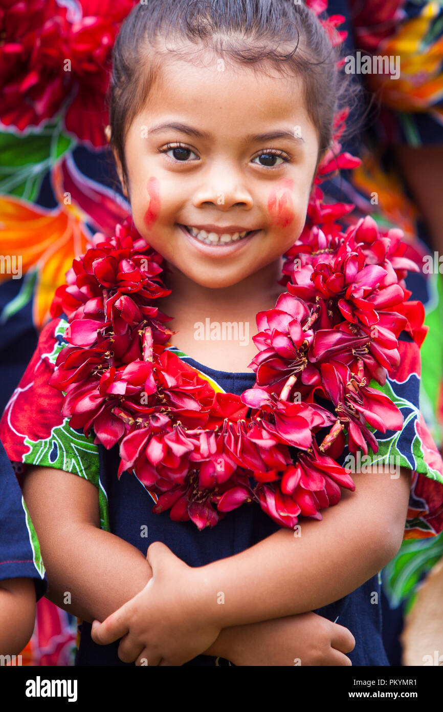 A girl performs at Samoa's national Teuila festival, Apia, 2012. - Stock Image