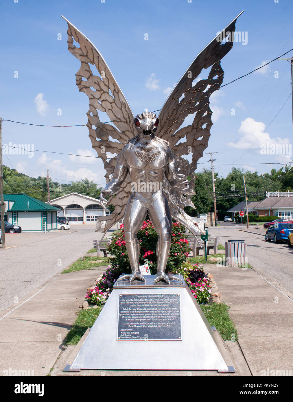 Mothman Sculpture in Point Pleasant West Virginia - Stock Image