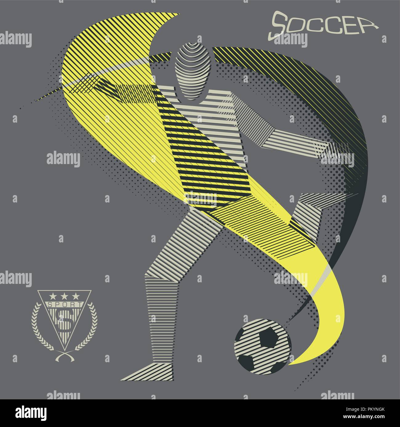 Stripy soccer player in action - Stock Vector
