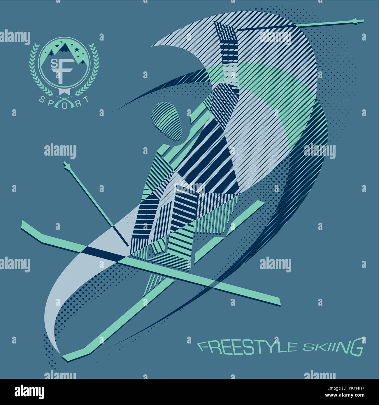 Stripy freestyle skier in action - Stock Vector