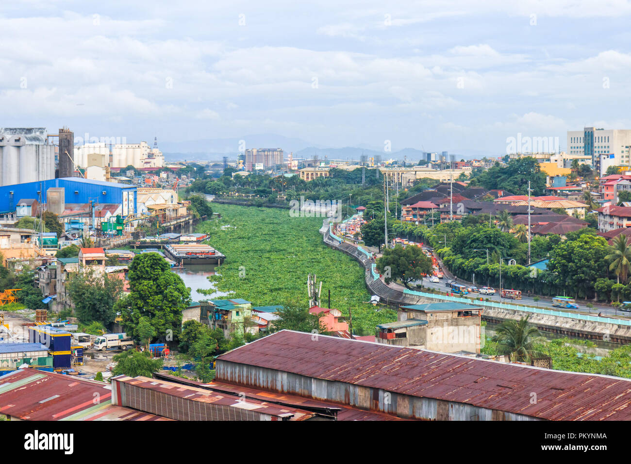 Mandaluyong, Philippines - July 10, 2018: View Of Pasig River In Mandaluyong - Stock Image