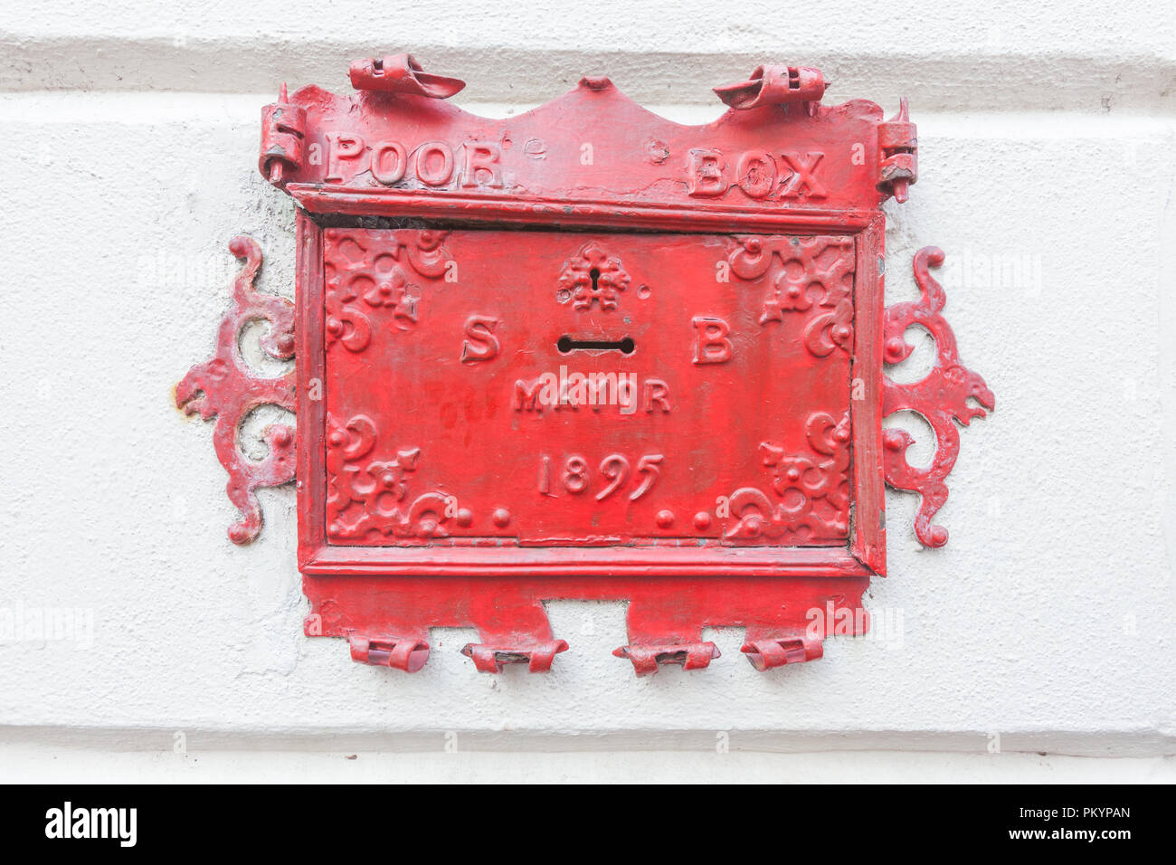 Poor Box ,Old donations box for the poor, Barnstable, Devon, England, United Kingdom. - Stock Image