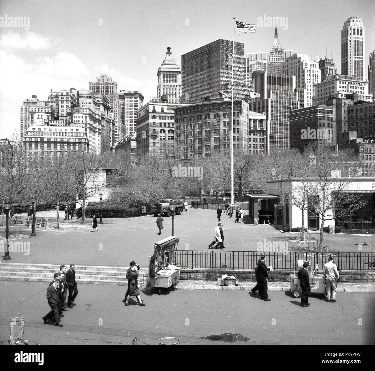 Central Park People: 1950s, Historical, People Walking On The Edge Of Central