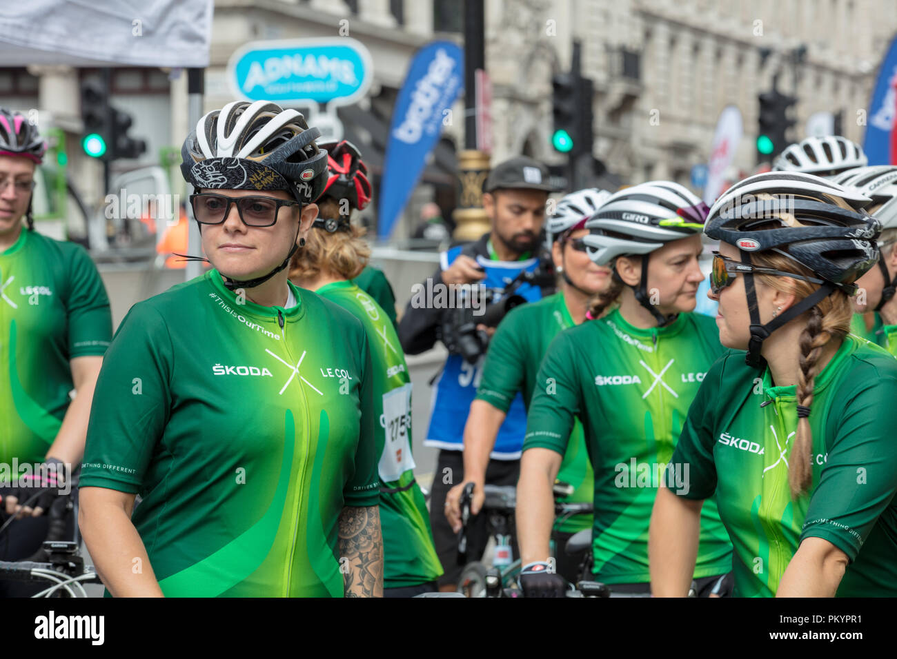 HSBC British Cycling Let's Ride Westminster Event. Female team cyclists waiting for the start of the non competitive race in central London. Stock Photo