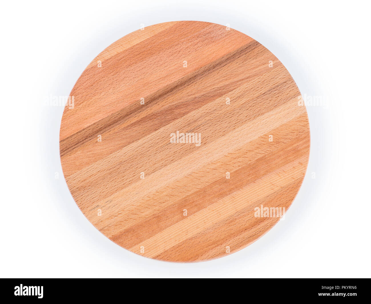 Round Wooden Cutting Board Top View Isolated On White Clipping Path Included Stock Photo Alamy