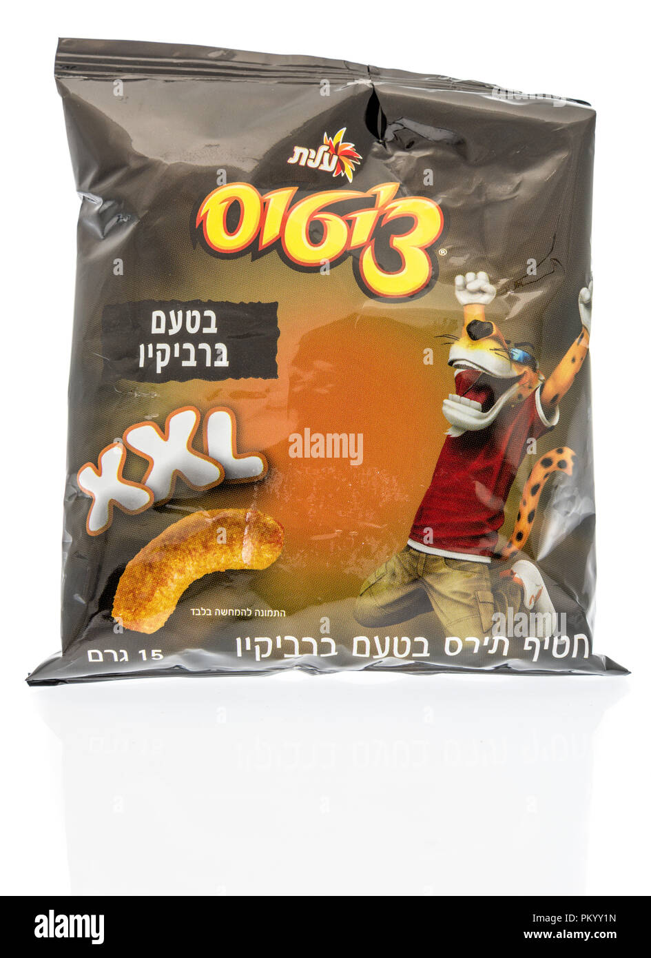Winneconne, WI - 14 September 2018: A package of Cheetos XXL cheese and BBQ flavor from Israel in Hebrew on an isolated background - Stock Image