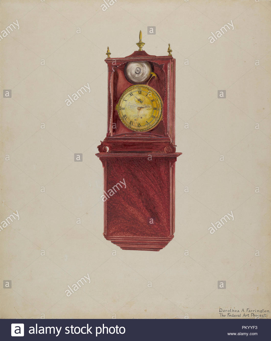 84d37b261290 Wall Clock Antique. Dated  c. 1938. Dimensions  overall  35.6 x 30.5 cm (14  x 12 in.) Original IAD Object  22 x 8 1 4 inches.