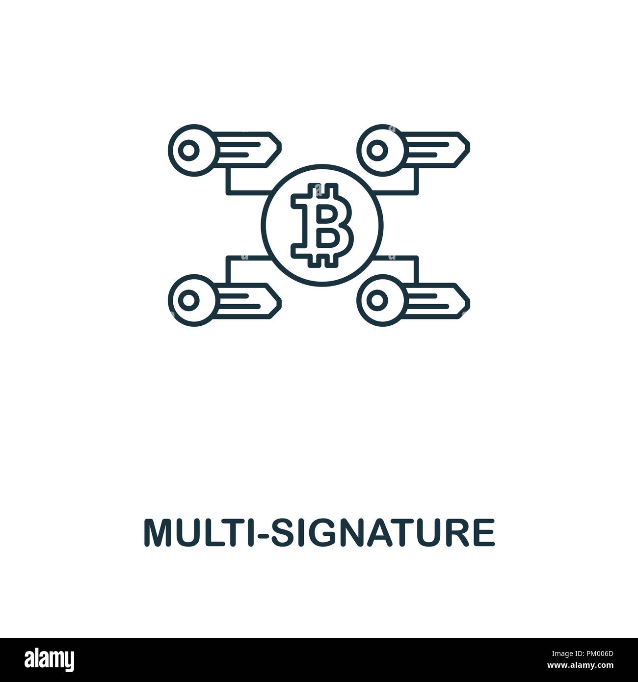 Multi-Signature outline icon. Monochrome style design from crypto currency collection. UI. Pixel perfect simple pictogram outline multi-signature icon - Stock Image