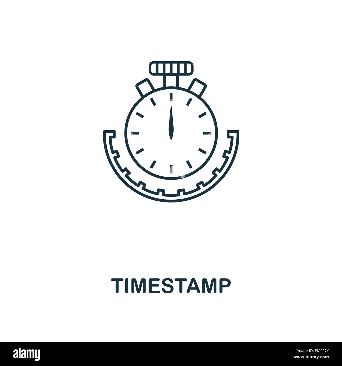 Timestamp outline icon. Monochrome style design from crypto currency collection. UI. Pixel perfect simple pictogram outline timestamp icon. Web design - Stock Image