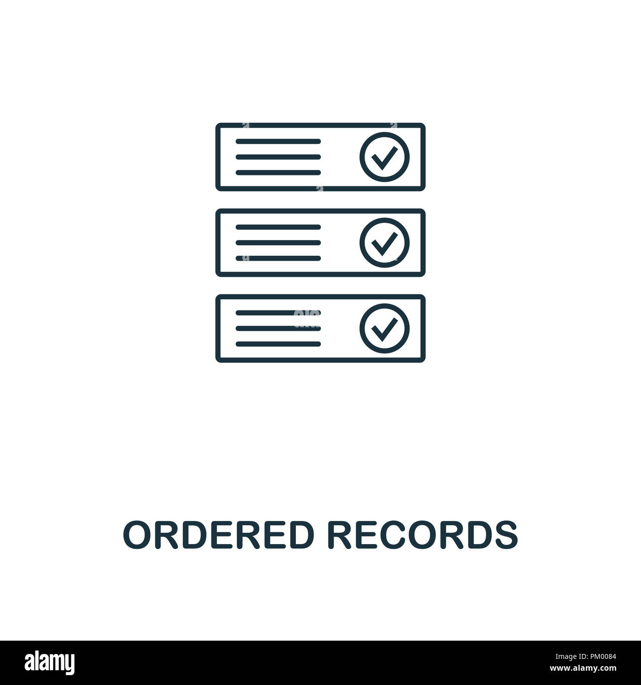 Ordered Records outline icon. Monochrome style design from crypto currency collection. UI. Pixel perfect simple pictogram outline ordered records icon - Stock Image