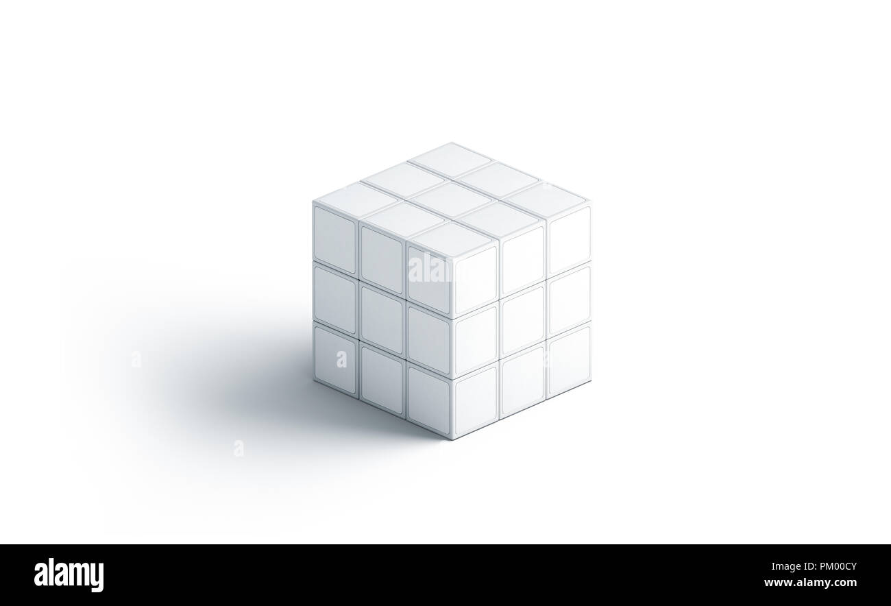 Blank white rubics cube mock up, isolated, 3d rendering. Empty rubik puzzle mockup, side view. Clear magic rebus box template. Cuboid conundrum toy for branding print - Stock Image