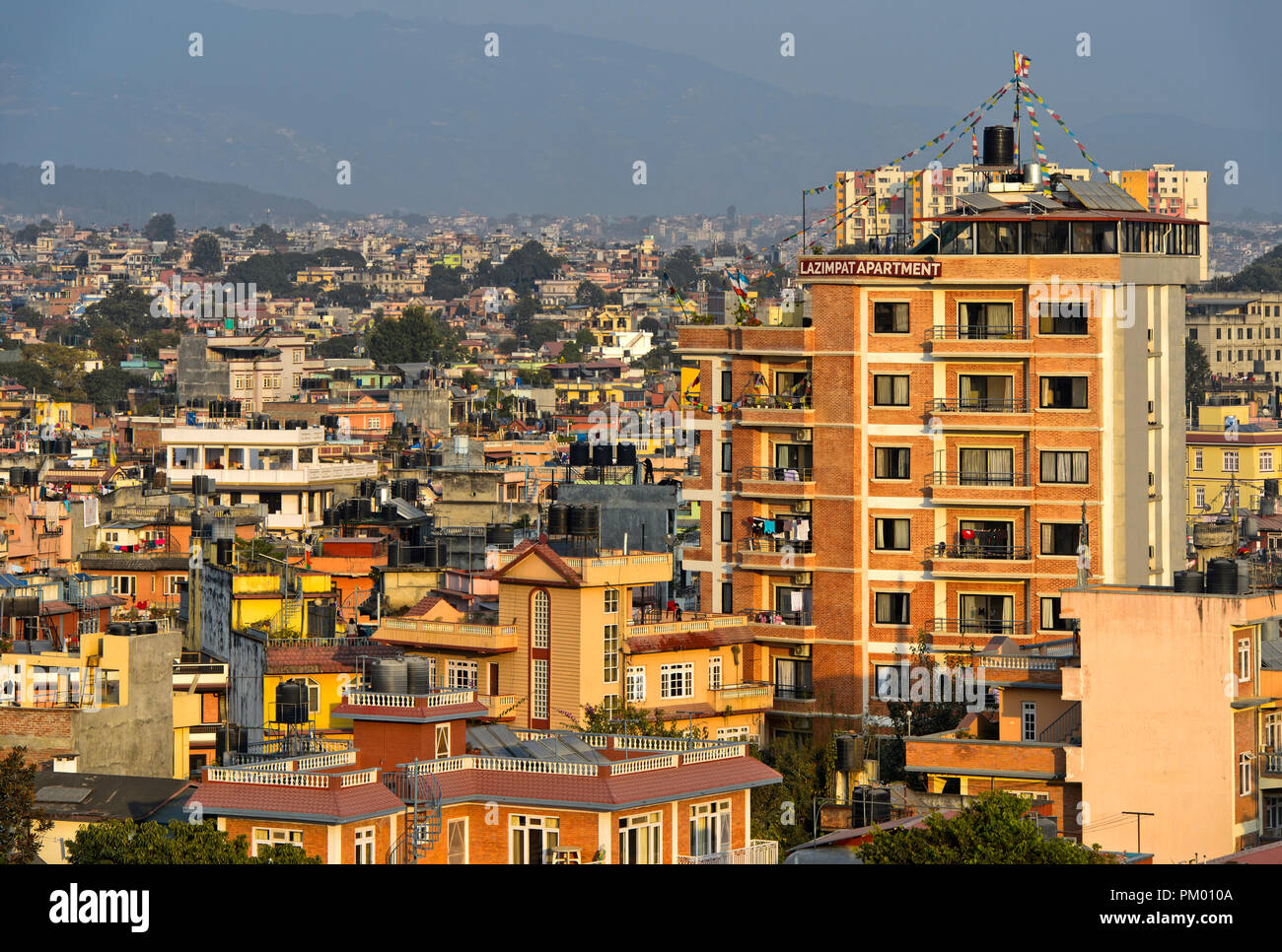 View on the densely populated residential area Lazimpat, Kathmandu, Nepal - Stock Image