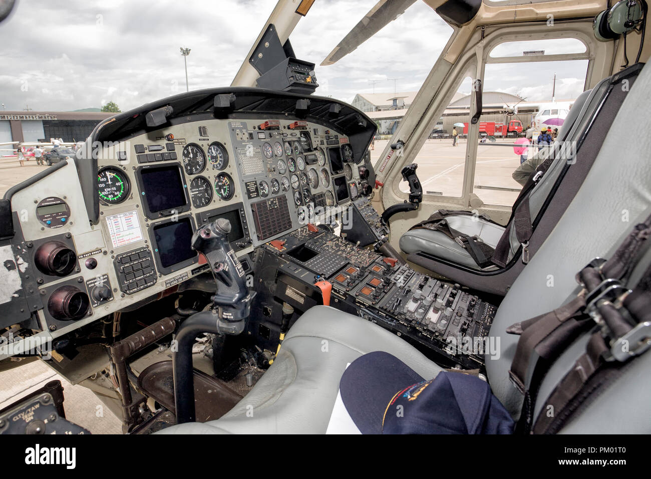 Helicopter cockpit. Interior view of Thai Air force helicopter - Stock Image