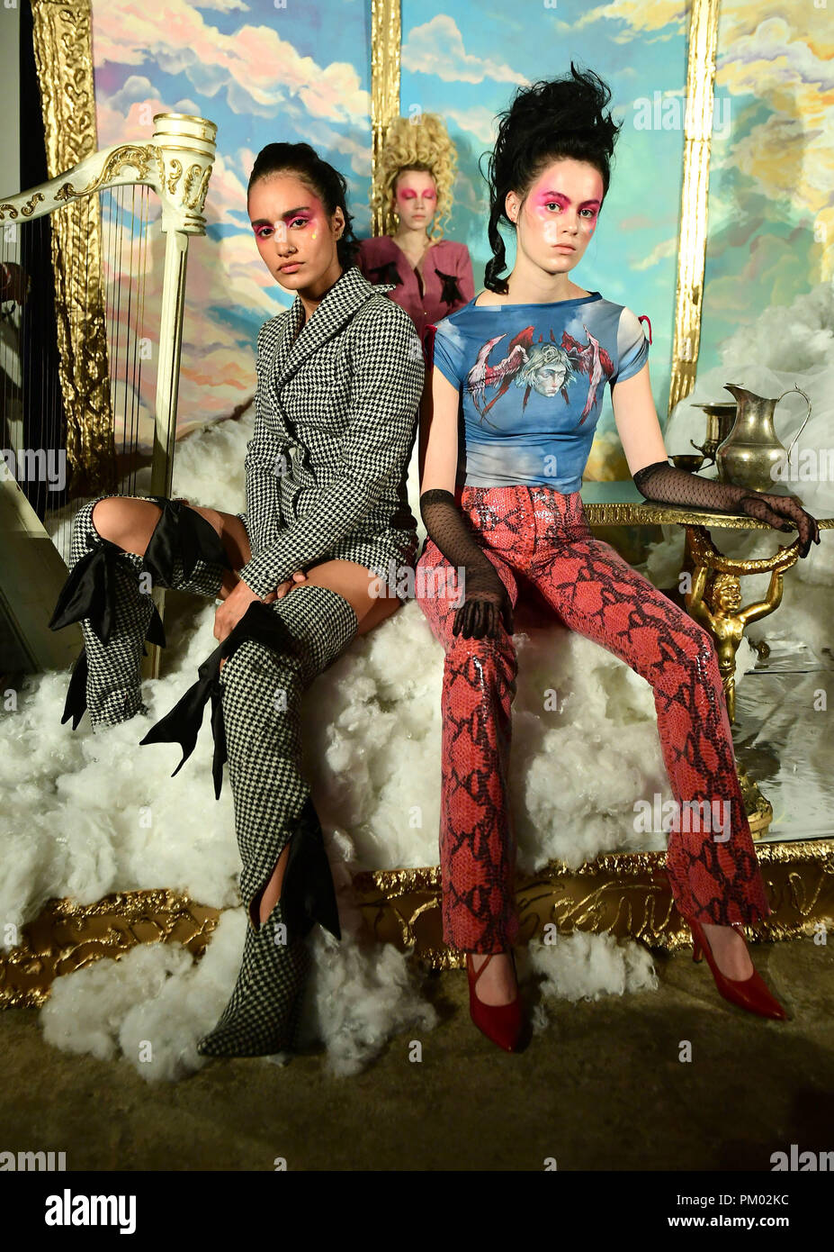 Models Seen At A Steve O Smith London Fashion Week Ss19 Presentation Held At The Bfc Designer Showrooms London Stock Photo Alamy