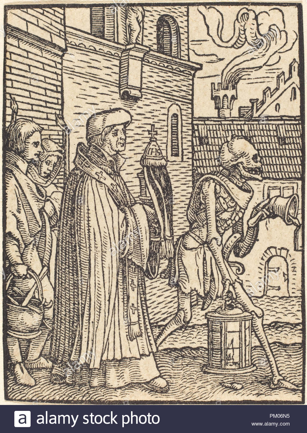 Parish Priest. Medium: woodcut. Museum: National Gallery of Art, Washington DC. Author: Hans Holbein the Younger. - Stock Image