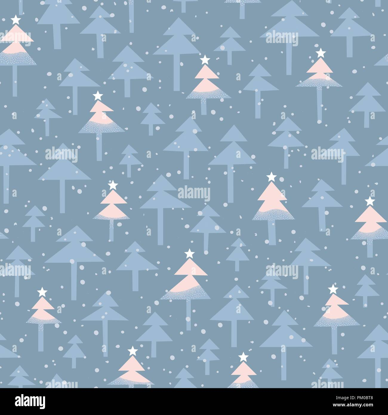cute trendy abstract christmas pastel pink and blue shaded trees stars snow on woodland background vector seamless pattern winter wonderland holida PM0BT8