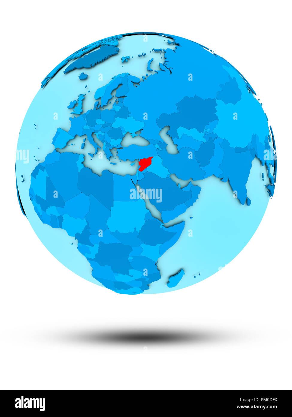 Syria on blue globe isolated on white background. 3D illustration. - Stock Image